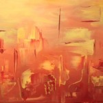 abstract, contemporary, oil, yellows, oranges, reds, creams, yellows, new mexico