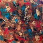 abstract, contemporary, oil, blues, reds, browns, new mexico